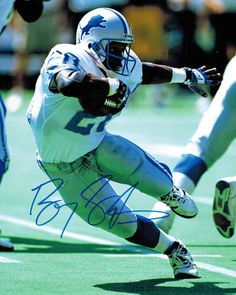 Barry Sanders Signed Detroit Lions Action Running Cut 8x10 Photo