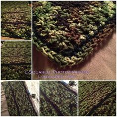 6 photos of the forest camouflage blanket in progress and finished. The camo-colored stitching is divided into long narrow sections which are bordered by rows of black stitching.