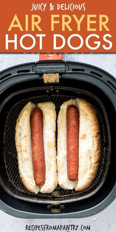 These Easy Air Fryer Hot Dogs taste just like grilled hot dogs. Cooking tasty hot dogs in the air fryer takes only 2 ingredients and just a few minutes! Air Fryer Hot Dog Recipe, Air Fryer Oven Recipes, Air Fryer Dinner Recipes, Hot Dog Recipes, Gourmet Recipes, Ninja Recipes, Microwave Recipes, Sandwich Recipes, Vegan Recipes