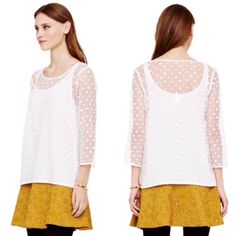 Club Monaco Sheer Dot Blouse Super chic and perfect layered or paired with boyfriend jeans. Excellent condition! Attached tank underneath. Cotton blend. No trades!! 018163500gwb Club Monaco Tops Blouses