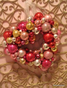 Make a Valentine's Day Wreath out fo Christmas Ornaments