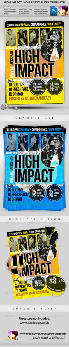 High Impact  A5 PSD Flyer Template — Photoshop PSD #nightclub #clean • Available here → https://graphicriver.net/item/high-impact-a5-psd-flyer-template/628416?ref=pxcr