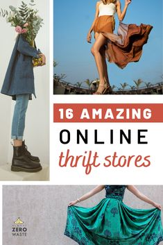Shopping second hand online has plenty of benefits. Find 16 great online thrift stores for buying affordable & zero waste second-hand clothes! Second Hand Shop Online, Second Hand Stores, Second Hand Clothes, Thrift Shop Outfit, Thrift Store Fashion, Sustainable Clothing, Sustainable Fashion, Diy Clothes, Fashion Clothes