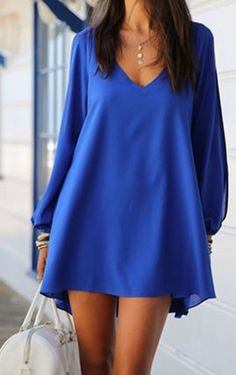 Love Love LOVE this Color! Love the Cut Out Sleeves! Sapphire Blue  V-Neck Long Hollow Out Sleeves Chiffon Beach Dress