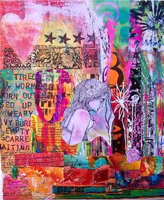 """Artist Kanchan Mahon; Assemblage / Collage, """"Crying a River"""""""