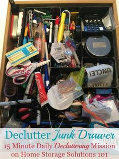 How to declutter your junk drawer, with step by step instructions, plus lots of photos from #Declutter365 participants who've already done this mission to get you inspired {on Home Storage Solutions 101}