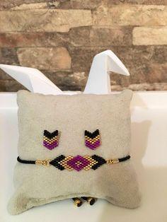 set bracelet and Earring posts chic miyuki glass beads woven by hand - Jewelry set Parure bijoux bracelet et boucles d'oreilles clous chic en