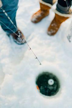 Nick and Rachel's Ice Fishing Adventure by Jeff Sampson Photography - via Grey likes Weddings