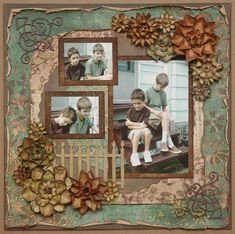 Shabby 'Grumpy Boys' Child's Page ~ An oblong, antique look matt with an inset picket fence frames the picture grouping and recreates the photo's porch scene just beautifully. Rolled, inked and distressed edging adds some 'grunge' to keep the layout more boyish.