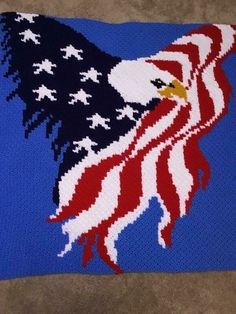 Crochet Afghans Design Eagle with Wings of Flag Afghan Crochet pattern by Kim C2c Crochet Blanket, Afghan Crochet Patterns, Crochet Yarn, Crochet Hooks, Crochet Afghans, Crochet Blankets, Graph Crochet, Crochet Stitches, American Flag Blanket