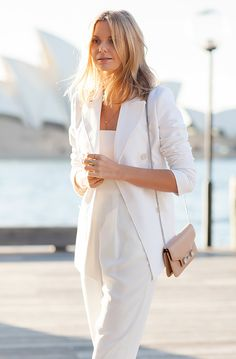A white jumpsuit and white blazer make for a great work-to-weekend look for summer. // #fashion #style #streetstyle #tuulavintage #jessicastein