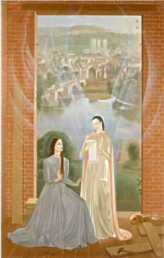 """Modern British Art Works by M L: """"Annunciation with Lincoln Cathedral in the background, circa Lincoln Cathedral, 11th Century, The Twenties, Oil On Canvas, Backdrops, Religion, Aurora Sleeping Beauty, Scene, Disney Characters"""