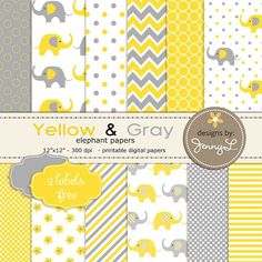 Yellow and Gray / Grey Elephants Printable Paperd by JennyLDesignsShop, $3.50