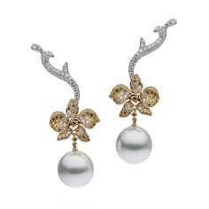 Autore Orchid Orange Blossom pearl earrings in yellow gold set with white, yellow and green diamonds and a 12mm white South Sea pearl.