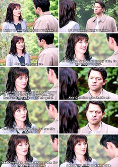 Hannah sort of irked me until this moment. Her exit was absolutely heart wrenching, the way she felt for her vessel. [gifset] 10x07 Girls Girls Girls #SPN #Castiel #Hannah