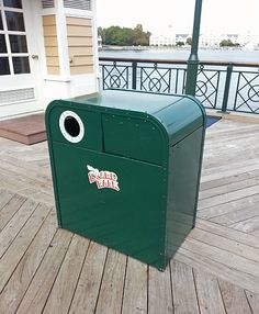 """It's a """"double wide"""" trash/recycling can combo on Disney's BoardWalk. Typically, you see garbage and recycling cans side-by-side; it's not often you see them joined as a single unit."""