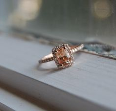 1ct Cushion Peach sapphire in 14k rose gold by EidelPrecious