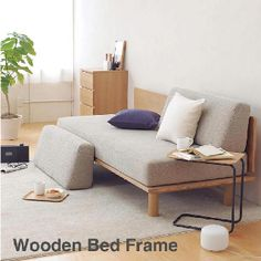 Muji coffee table and wooden bed frame