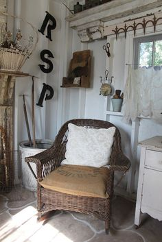 Burlap & lace On an old wicker chair
