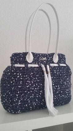 Tasche Damentasche Borsa Borse Bolsos Trapillo Uncinetto Gehäkelt Stoffgarn Design Neu von KSStil auf Etsy