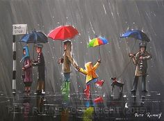 PETE RUMNEY FINE ART MODERN ACRYLIC OIL ORIGINAL PAINTING FUN UMBRELLAS RAIN NEW in Art, Artists (Self-Representing), Paintings | eBay