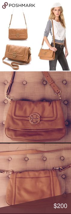 """Tory Burch Amanda Fold-Over Messenger Bag OBO- Very gently used- Pebbled leather. Foldover closure with magnetic snaps. 2 ways to wear (foldover or tote style). Back slit pocket. 1 interior zipper pocket and 2 additional open pockets. Logo jacquard lining. Leather filled inset logo. Interior Tory logo plaque. Flat leather removable/adjustable crossbody strap fully extends to 23"""" (w/ collar studs). Height: 13"""" (6.5""""H folded) Length: 11"""" Depth: 3"""" Tory Burch Bags Crossbody Bags"""