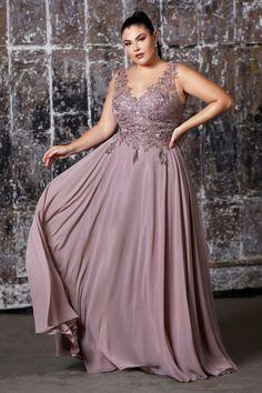 Cinderella Divine - 9177 Beaded Lace V-neck A-line Dress Plus Size Formal Dresses, Formal Gowns, Plus Size Gala Dress, Gowns For Plus Size Women, Formal Prom, Gala Dresses, Prom Dresses Online, Mode Plus, Glitter Dress