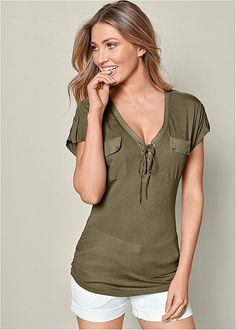 LACE UP SHORT SLEEVE TOP, SOLID SHORTS, PANAMA HAT