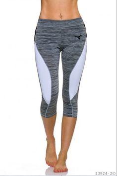 Αθλητικό κολάν μήκους 3/4 - Γκρι Άσπρο Pants, Fashion, Moda, Trousers, Fashion Styles, Women Pants, Women's Pants, Fashion Illustrations, Trousers Women