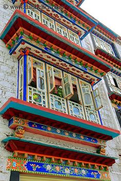 Apartment windows, Lhasa, Tibet || @RaloTibetanRugs