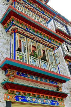 Apartment windows, Lhasa, Tibet || @RaloTibetanRugs