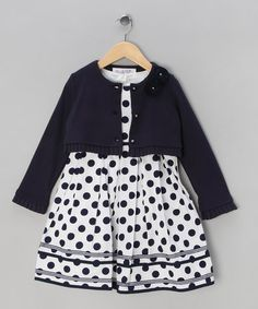 Take a look at this Navy Polka Dot Dress with Cardigan - Infant, Toddler & Girls by Couche Tot on #zulily today!