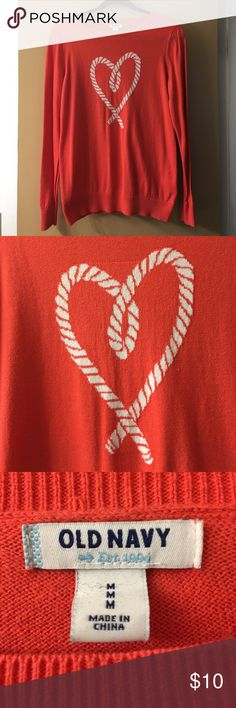 Heart ❤️ crewneck sweater Adorable sweater. Has been previously loved. Signs of balling slightly on the front & back & more in the armpit area. Condition is reflected in price. Old Navy Sweaters Crew & Scoop Necks