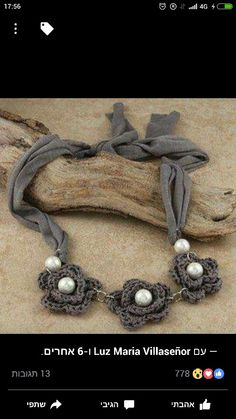 Shop for Crocheted Cotton Grey Trio Flower Tie Necklace (Chile). Get free delivery On EVERYTHING* Overstock - Your Online Jewelry Shop! Love Crochet, Bead Crochet, Crochet Crafts, Crochet Flowers, Diy Crochet, Diy Necklace, Flower Necklace, Necklaces, Jewelry Crafts