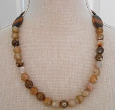 Brown necklace Brown jewelry  agate bead necklace agate