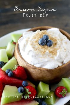 Brown Sugar Fruit Dip ~ a 3-ingredient recipe that's perfect for serving with your favorite fruit as a snack or dessert!   TastesOfLizzyT.com for FiveHeartHome.com