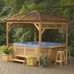 Hot tub with gazebo, similar to my own.  http://spasandstuff.com
