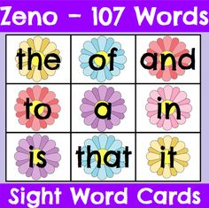 Zeno High Frequency Word Cards for Spring #highfrequencywords #spring #kindergarten #firstgrade