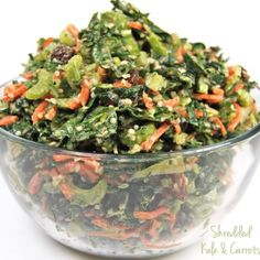 Vegan Shredded Kale and Carrots with Almond Butter Dressing from the vegan cookbook Crazy Sexy Kitchen Dairy Free Recipes, Raw Food Recipes, Veggie Recipes, Healthy Recipes, Vegan Vegetarian, Vegetarian Recipes, Clean Eating, Healthy Eating, Healthy Food