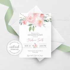 Tea Party Baby Shower Invitation Template, Pink Floral Baby Shower Invite Printable, Editable DIGITAL DOWNLOAD - FR100 - @PlumPolkaDot Baby Shower Invitation Templates, Baby Shower Printables, Bridal Shower Invitations, Party Printables, Wedding Shower Signs, Bridal Shower Wine, Bridal Showers, Tea Party Bridal Shower, Baby Shower Parties