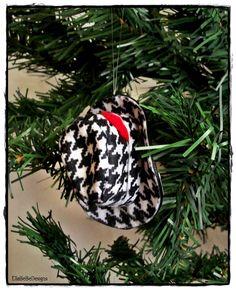 Alabama Houndstooth Mini Fedora/Trilby Hat, Handmade Christmas Ornament. $7.00, via Etsy.