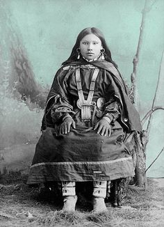 UTE INDIANS   Ute Indian girl 1870 - colorized