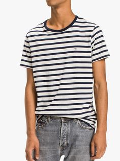 1adbccc7 The Tommy Jeans Jersey Striped T-Shirt In Black Iris Men's Crew Neck Jersey  T