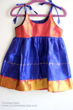 Beautiful Handmade India-inspired Royal Blue Dress by Puchkee Baby @ www.puchkeebaby.etsy.com