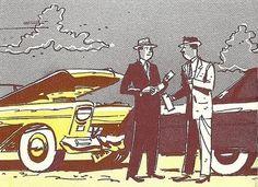 Vintage car crash illustration, ca. 1950s.