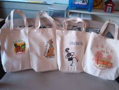 """Fall Book Bags       Bags    """"Thursday Book Bags"""" are tote bags that have books and activities that share a common theme, and are for you to share with your family. You might choose to take home a """"Book Bag"""" with joke books, math books, monster books, girly books, USA books, or one of the other choices!     Camouflage, Animals, and Animal Poet"""