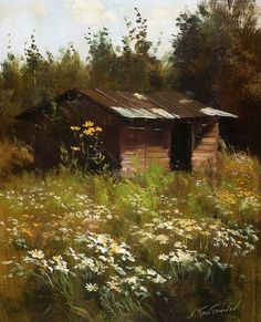Idilicul în creația lui Sergei Toutounov (Part I) Landscape Art, Landscape Paintings, Art Et Architecture, Building Art, Traditional Landscape, Victorian Art, Old Barns, Pictures To Paint, Beautiful Paintings
