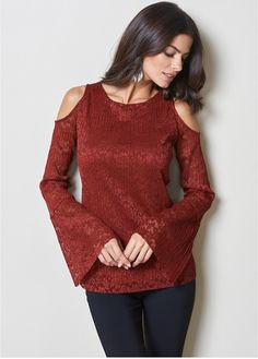 ab014551d0 Cut with cold shoulders this elegant lace top has a wider than normal sleeve  for extra. venus.com