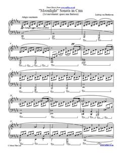 The first movement of Beethoven's Moonlight Sonata is very well-known. Download the sheet music or midi and mp3 versions of this piece.