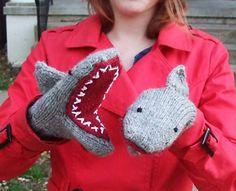 Ravelry: Deep Blue Sea: Shark Mittens pattern by Breeanna Sveum Crochet Mittens, Crochet Gloves, Mittens Pattern, Knit Crochet, Fingerless Mittens, Crochet Granny, Crochet Shark, Knitting For Kids, Knitting Projects